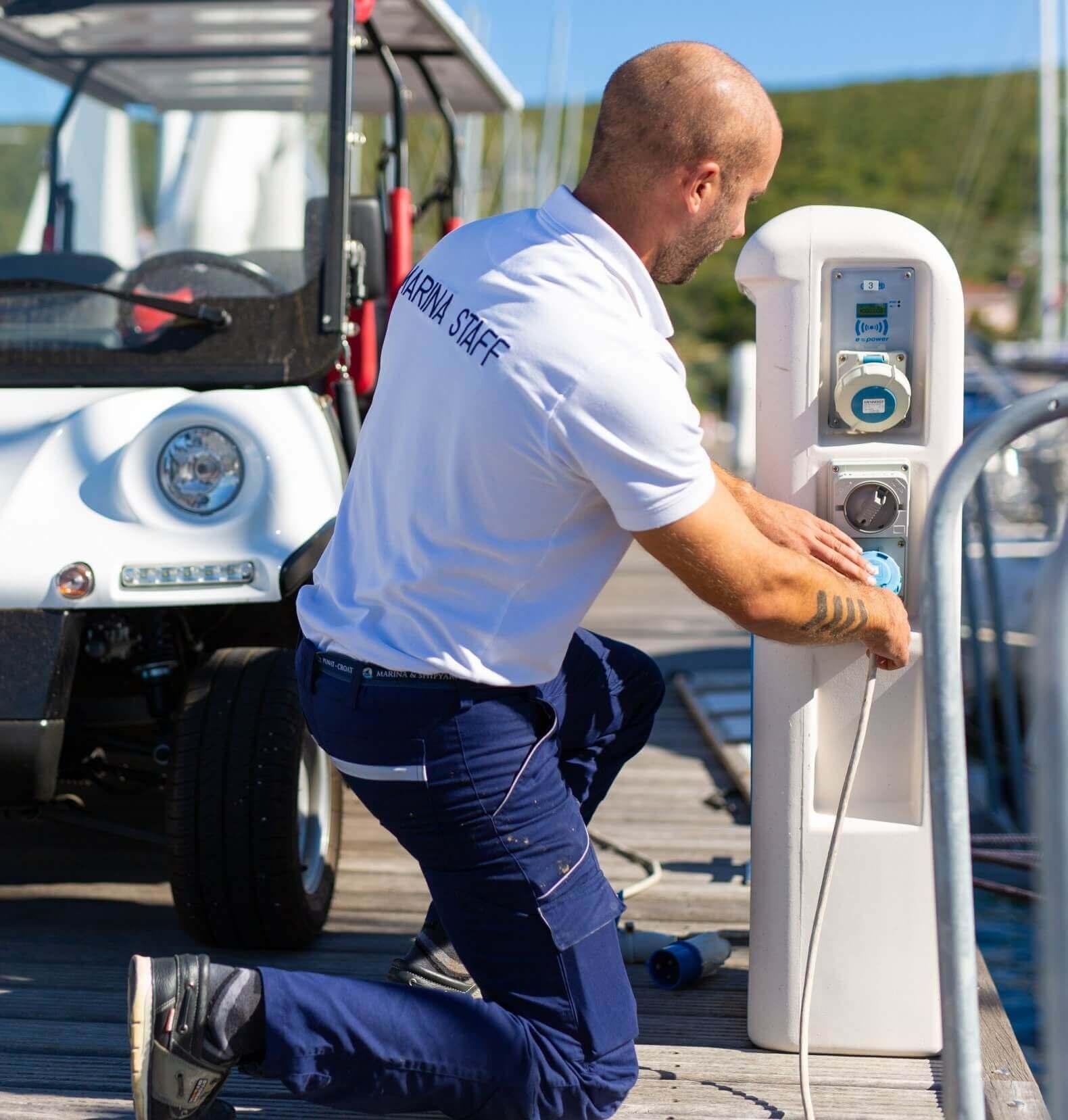 sailor charging boat
